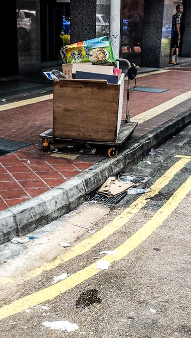 Litter on the streets in Singapore.