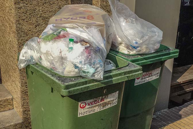 Random garbage ready for pickup in Singapore.