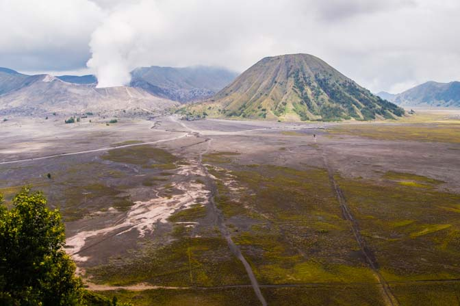 Path across the sea of sand to Mt. Bromo's opening.