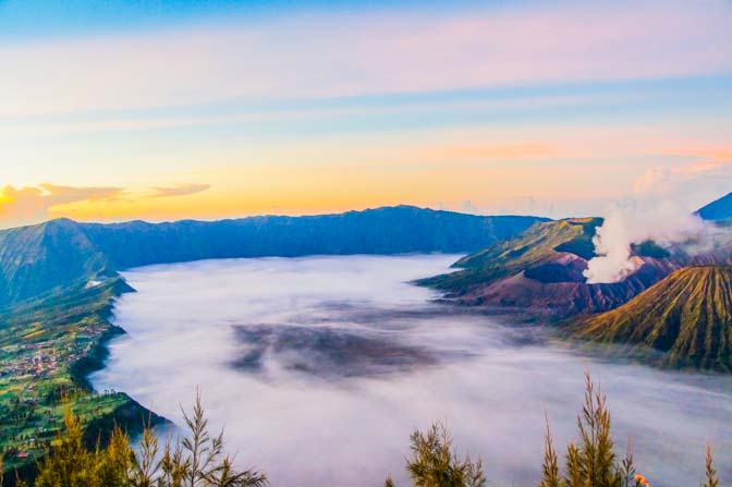 such beauty, village on the left and Mt. Bromo on the right.