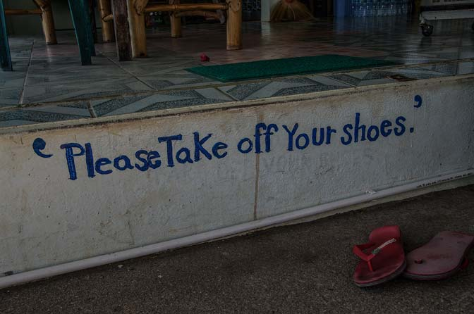 Removing shoes was custom prior to entering any facility.