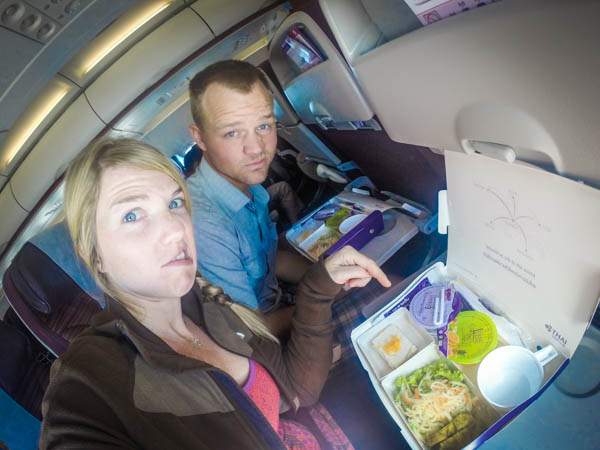 Another airplane and their amazing airline food.