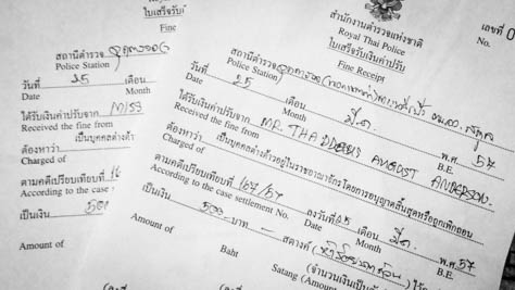 Thailand immigration fine.