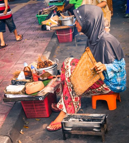 Street food being cooked in Indonesia.