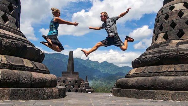 Jump shot at Borobudur, Indonesia.