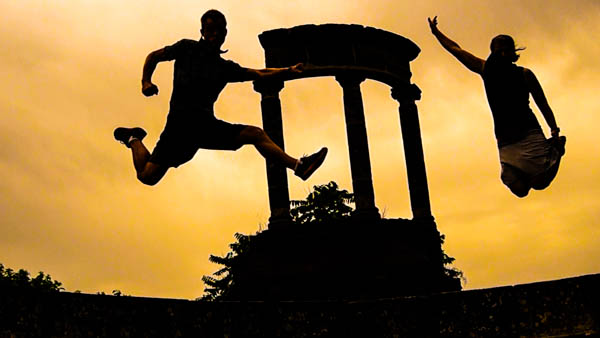 Jump shot in Pompeii, Italy.