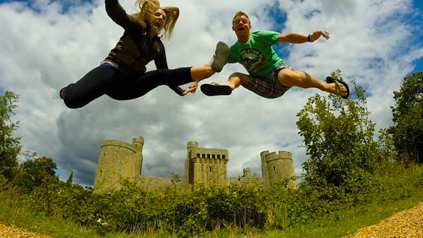 Jump Shot in front of Bodiam Castle.
