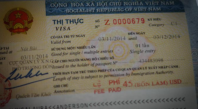 Vietnam Visa passport page.