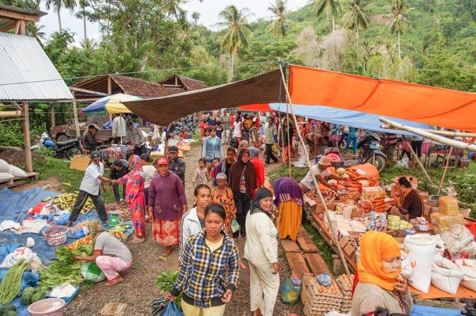 Market at base of mountain.